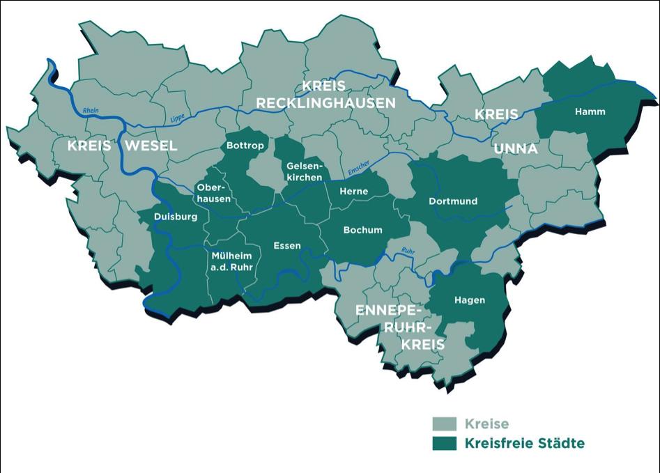 Karte der Metropole Ruhr